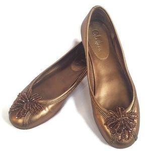 Cole Haan Metallic Bronze Beaded Ballet Flats